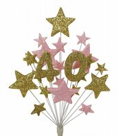 Number age 40th birthday cake topper decoration in gold and pale pink - free postage